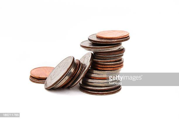 Stack of various coins closeup