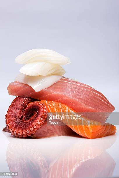 Stack of various sashimi