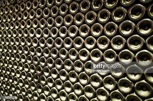 Stack of wine bottles, full frame