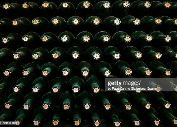 Stack of wine bottles