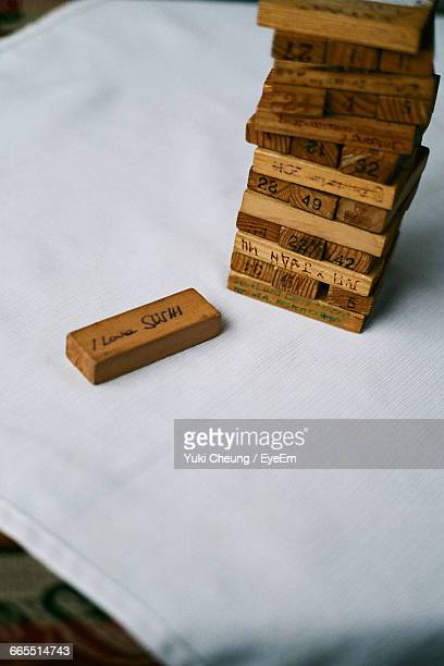 Stack Of Wooden Blocks On Table