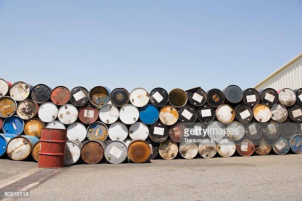 Stacked 50 gallon oil drums