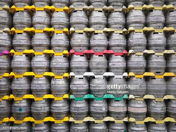 Stacked beer barrels