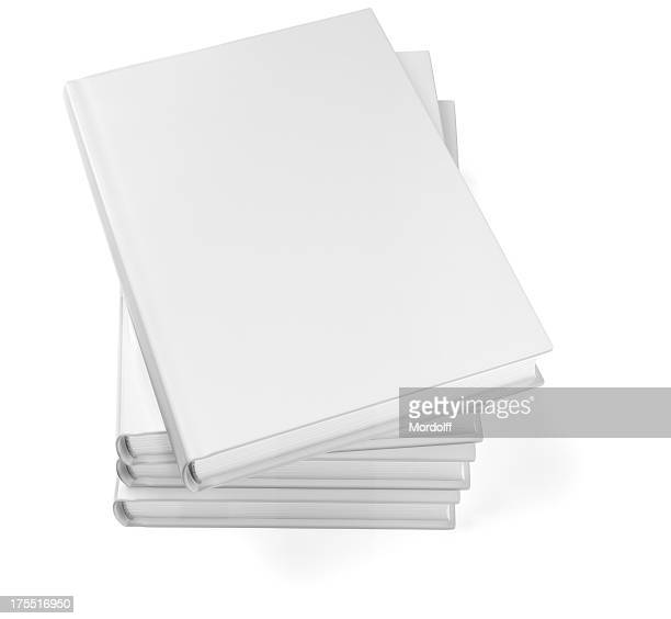 Stacked blank books isolated on white