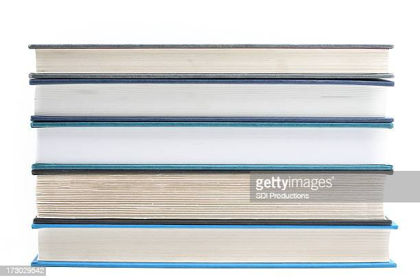 stacked books isolated on white background - category:pages stock pictures, royalty-free photos & images