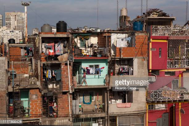 Stacked buildings at the Villa 31 slum on May 22 2015 in Buenos Aires Argentina
