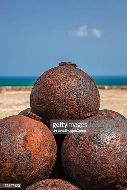 Stacked cannon balls at Castillo San Felipe del Morro San Juan National Historic Site a national park in Old San Juan Puerto Rico