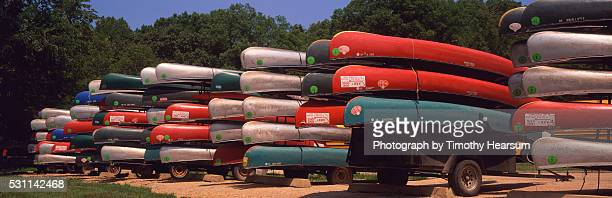 stacked canoes - timothy hearsum stockfoto's en -beelden