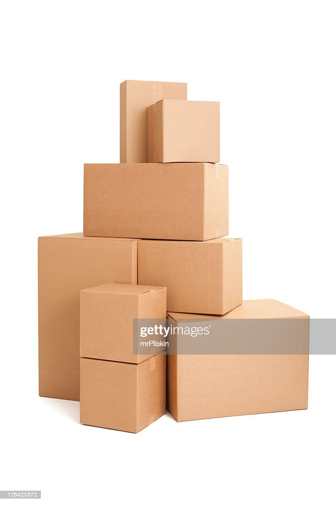 Stacked cardboard boxes : Stock Photo