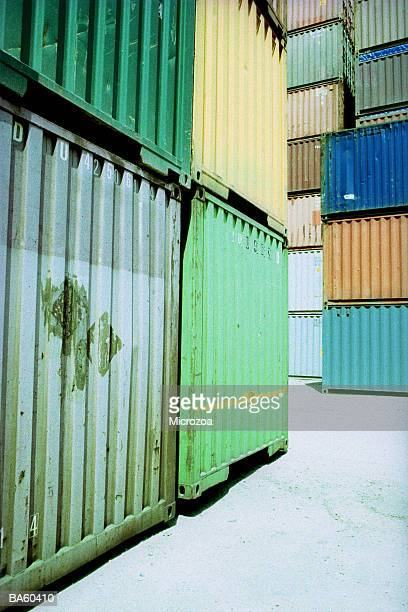 stacked cargo containers, close-up - microzoa stock pictures, royalty-free photos & images