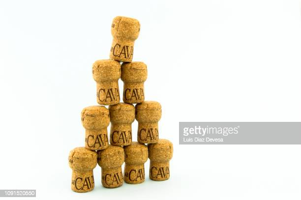 stacked cava corks (spanish wine) - cork stopper stock pictures, royalty-free photos & images