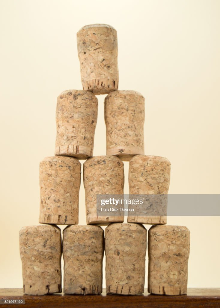 Stacked champagne corks : Stock Photo