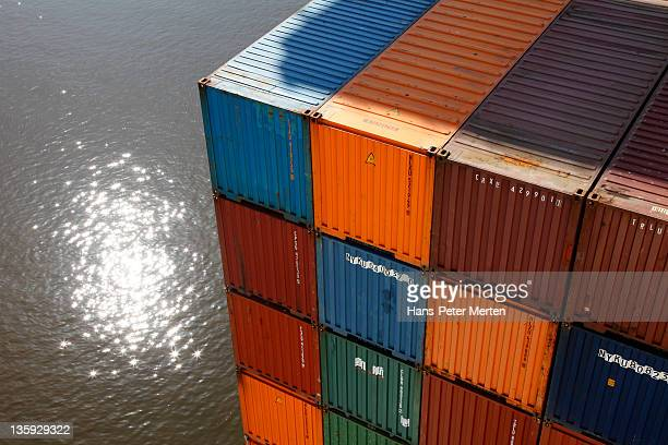 stacked container in harbour