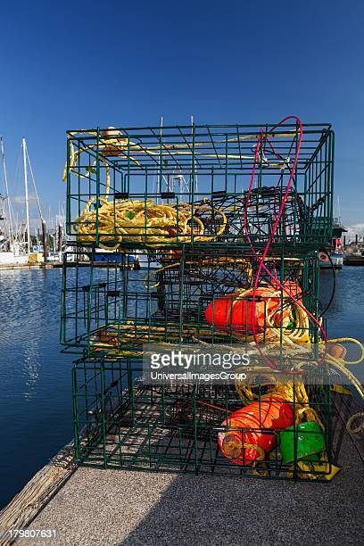 Stacked crab pots on the pier Charleston Marina OR