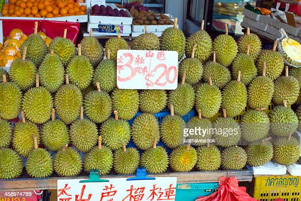 Stacked Durian fruits