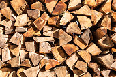 Stacked firewood for winter