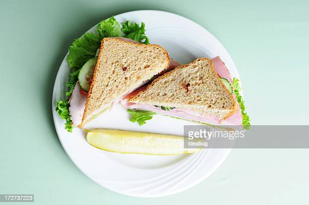 stacked ham sandwich - sandwich stock pictures, royalty-free photos & images