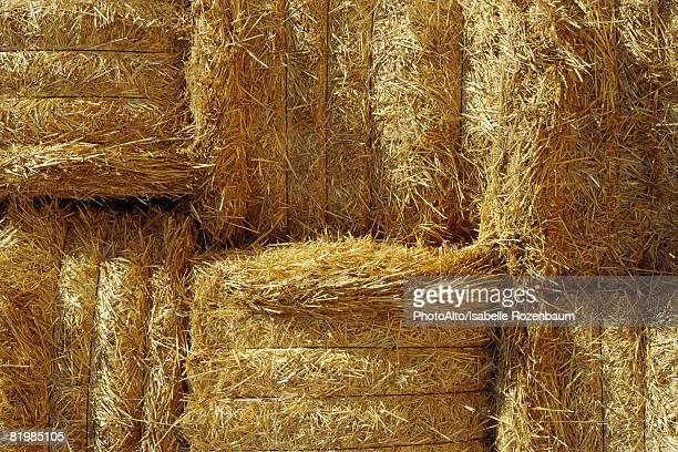 Stacked hay bales, close-up, full frame