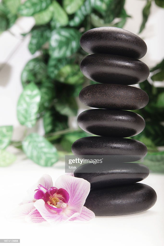 Stacked massage stones : Stock Photo