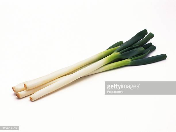 Stacked of long green onions, high angle view