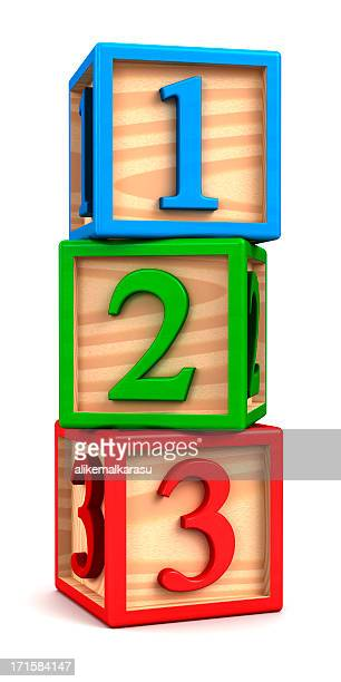 Stacked Painted Wooden Number block toys