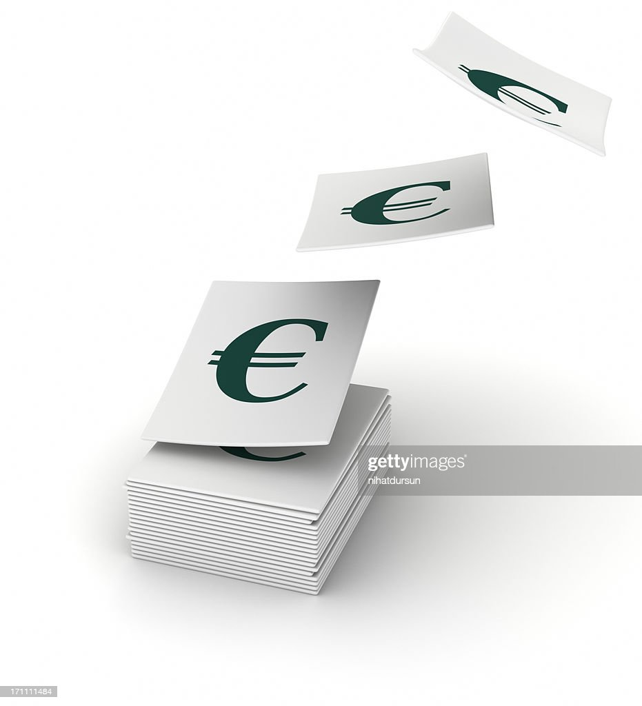 Stacked Papers With The Euro Symbol Stock Photo Getty Images