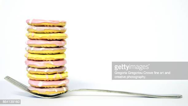 stacked party ring cookies - gregoria gregoriou crowe fine art and creative photography. stock pictures, royalty-free photos & images