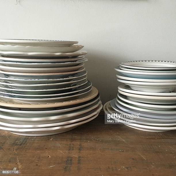 Stacked Plates On Table At Home