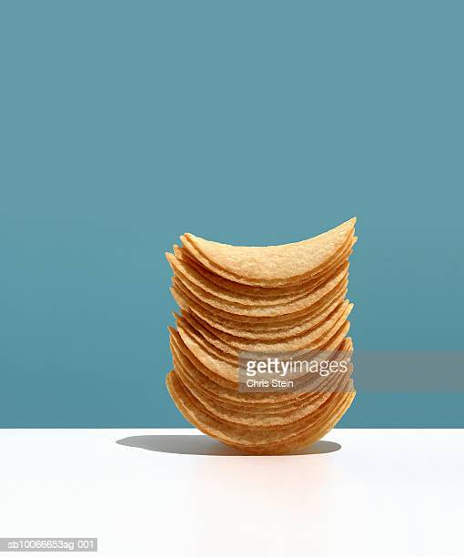 Stacked potato chips, studio shot