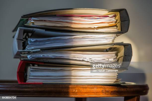 stacked ring binders - archives stock pictures, royalty-free photos & images