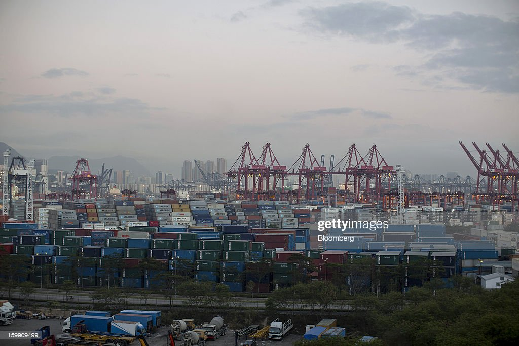 Stacked shipping containers and cranes stand in the Kwai Tsing Container Terminals in Hong Kong, China, on Monday, Jan. 21, 2013. Hong Kong is scheduled to release export figures for December on Jan. 24. Photographer: Jerome Favre/Bloomberg via Getty ImagesBloomberg
