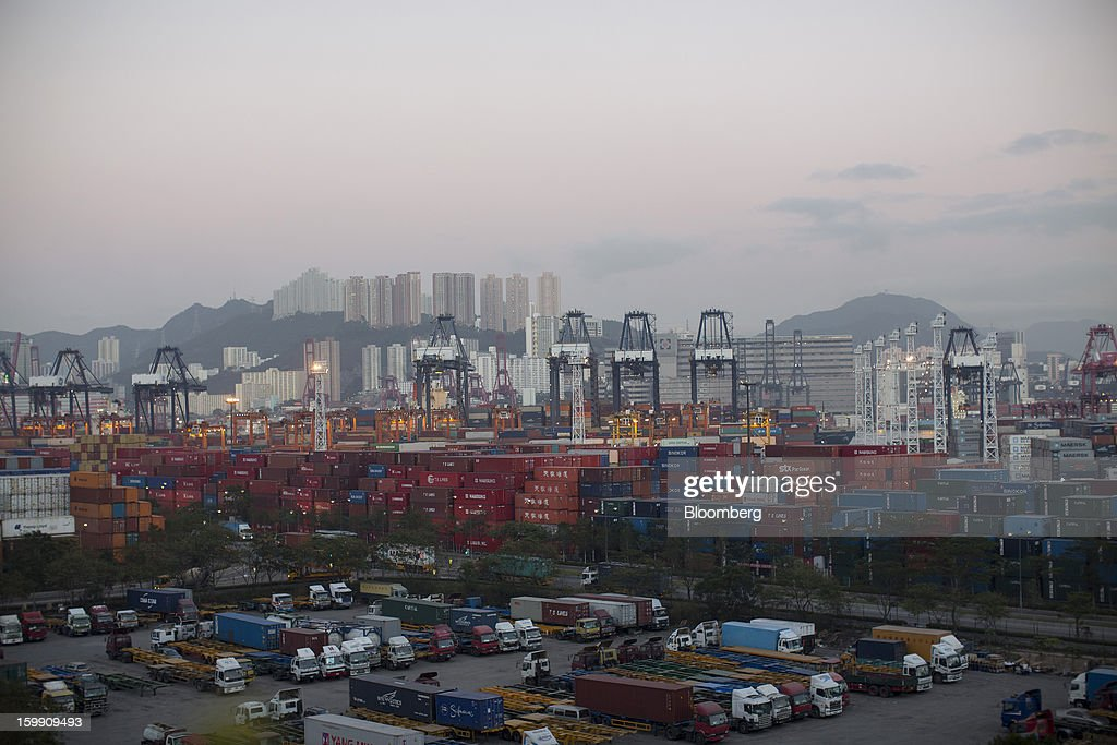 Stacked shipping containers stand in the Kwai Tsing Container Terminals in Hong Kong, China, on Monday, Jan. 21, 2013. Hong Kong is scheduled to release export figures for December on Jan. 24. Photographer: Jerome Favre/Bloomberg via Getty Images