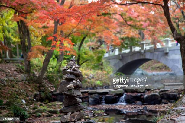 Stacked Stones By Stream During Autumn