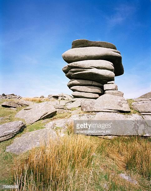 Stacked stones on rocky hillside, Bodmin Moor, Cornwall, UK