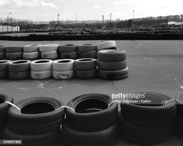 Stacked Tires At Motor Racing Track