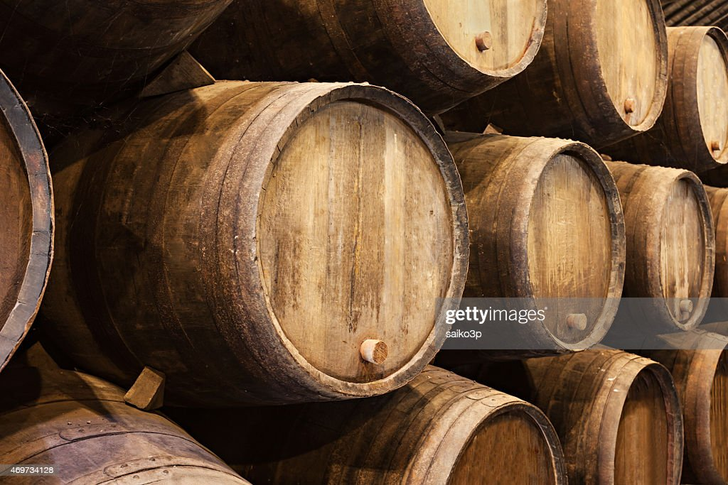 stacked oak barrels maturing red wine. Stacked Wooden Wine Barrels In Porto Oak Maturing Red