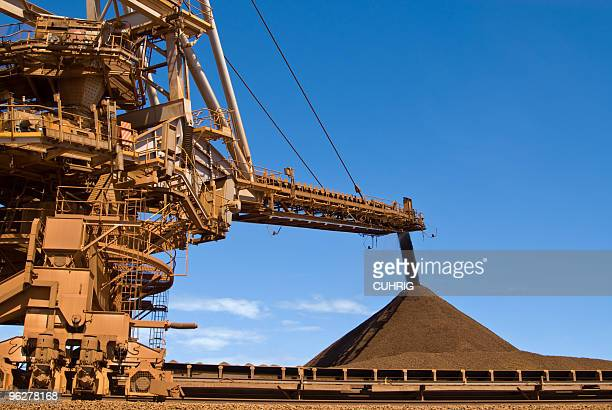 Stacker and Stockpile on Iron Ore Mine Site
