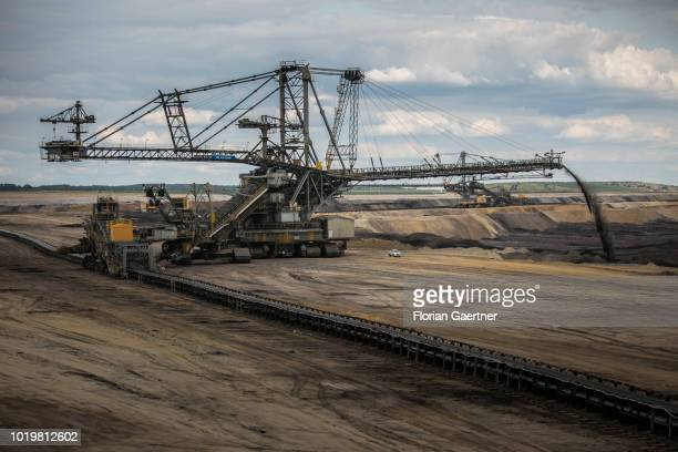 A stacker conveying overburden is pictured at the lignite mine WelzowSued on August 15 2018 in Neupetershain Germany