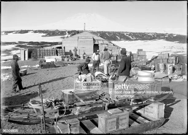Stacking up supplies at Cape Evans on Ross Island in the Ross Dependency of Antarctica during Captain Robert Falcon Scott's Terra Nova Expedition to...