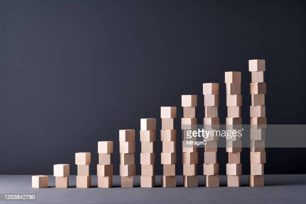 stacking wood blocks bar graph - arranging stock pictures, royalty-free photos & images