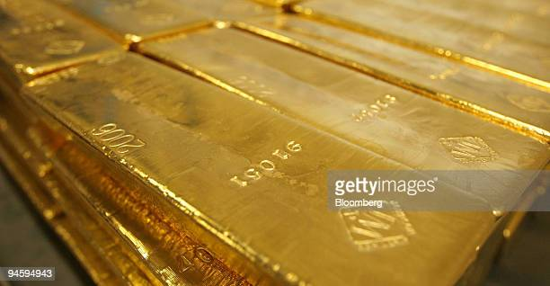Stacks of 40 Troy ounce high fine gold bars are seen in a subcompartment of the vault inside the United States Mint in West Point New York Tuesday...