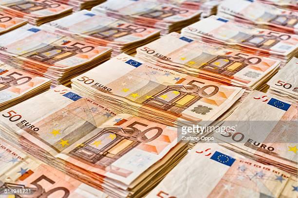 Stacks of 50 Euros bank notes