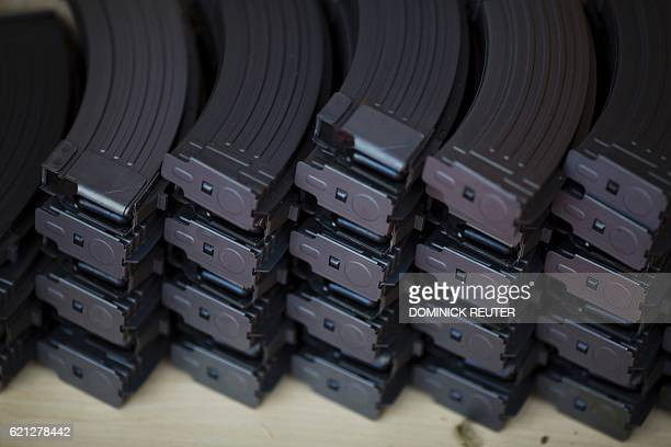 Stacks of ammunition magazines are on display at a gun shop on November 5 in Merrimack New Hampshire According to the proprietor October's sales in...