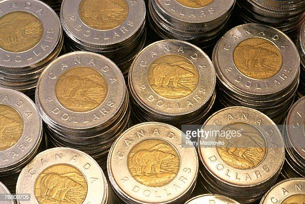 Stacks of Canadian two dollar coins