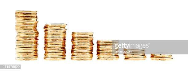 Stacks of coins in different heights
