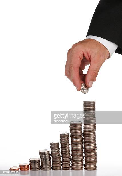 stacks of coins xxl - dime stock pictures, royalty-free photos & images