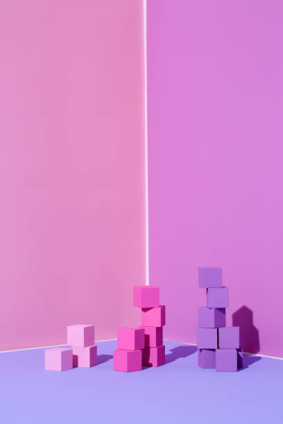 Stacks of colored cubes