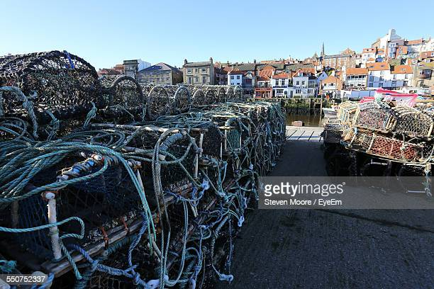 Stacks Of Crab Pots At Fishing Industry By Residential District