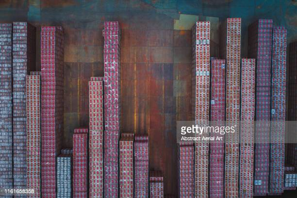 stacks of crates as seen from a drone, west midlands, united kingdom - europe stock pictures, royalty-free photos & images