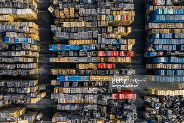 stacks of crates photographed from above, spain - large group of objects stock pictures, royalty-free photos & images